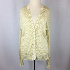 LOFT V-Neck Cardigan Fall White Yellow Printed S